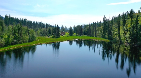 2,170 ft² Log Home Nestled Amongst 77 Acres with Private 8-Acre Lake - Little Fort, BC